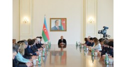 President Ilham Aliyev mentioned Baku White City during the meeting with Movement of the Enterprises of France