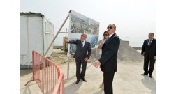 Ilham Aliyev reviewed the progress of construction at the Baku White City Boulevard