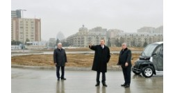President Ilham Aliyev reviewed the progress of construction at the Baku White City boulevard